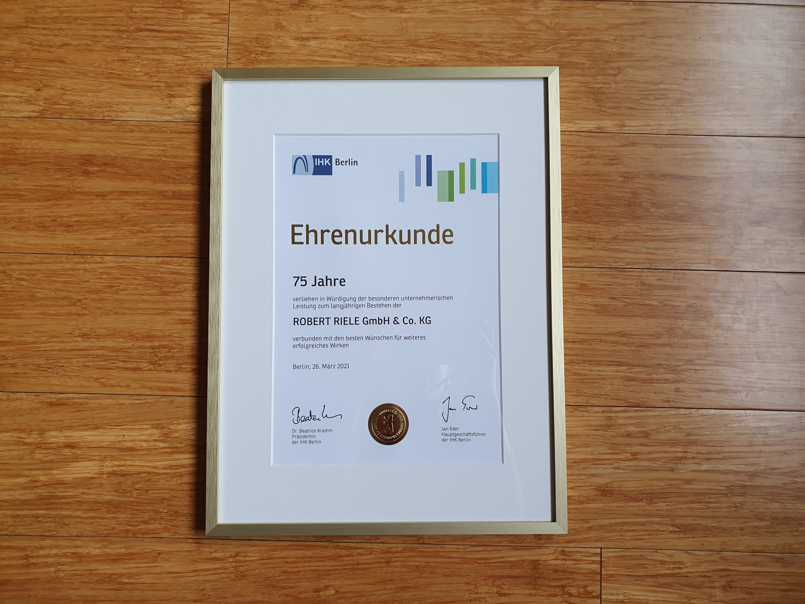 Certificate of Honor from the IHK